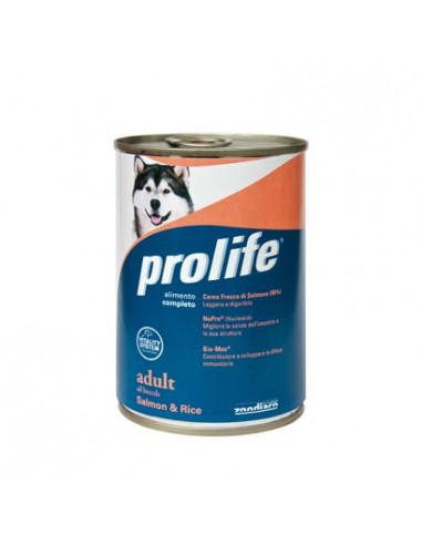 Prolife Wet Dog - Adult - All Breeds - Salmon & Rice - 400 gr. - Barattolo