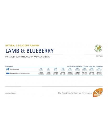Farmina Dog - N&D Pumpkin Formula - Lamb & Blueberry - Adult Medium & Maxi - 2,5 Kg