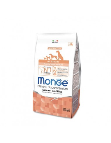 Monge cane - Natural Superpremium - Puppy & Junior - All Breeds - Speciality Line - Salmone e Riso - 2,5 Kg