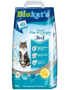 Biokat's Fior di Cotone 3 in 1- Lettiera per Gatti in Argilla Naturale - 10 Kg