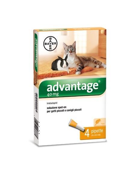 Bayer - Advantage 40 mg - 4 fiale Spot-on per Gatti e Conigli fino a 4 kg